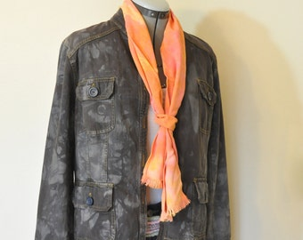 "Brown Large Cotton Denim JACKET - Cocoa Brown Hand Dyed Upcycled Mossimo Cotton Safari Blazer Jacket - Adult Womens Size Large (42"" chest)"