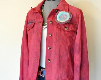 "Red Medium Denim JACKET - Crimson Red Hand Dyed Upcycled Harve Bernard Denim Trucker Style Jacket - Adult Womens Medium (40"" chest)"