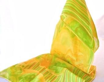 Psychedelic Chiffon Scarf, Lemon Lime Orange Citrus Colors, Clouds and Stripes, 60s 70s Oblong Sash