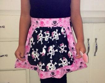 Pink Glitter Heart Crossbone Children's Tea Apron Girls Black Bow