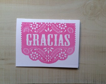 Muchas Gracias Thank You Greeting Card, Papeli Picado Spanish Card, Blank Note Card, Spanish Language, Funny Birthday Card, Pun Card