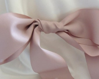 "Taupe mauve Blush Dusty Pink  2"" 50mm Matte Ribbed Ribbon Taffeta Wedding Gown Sash"