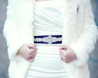Bridal Beaded Jeweled Crystal Belt Sash