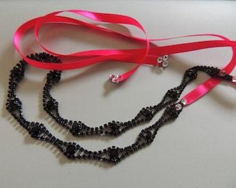 Rhinestone Crystal Scallop Headwrap rhinestone halo headband black and hot pink ribbon