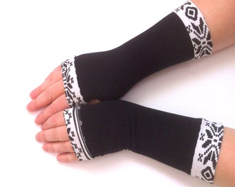 Winter gloves   with black- white  color