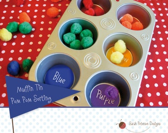 Muffin Tin Pom Pom Color Sorting Activity - Instant Download Printable