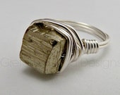 Pyrite Chunk Statement Wire Wrapped Ring