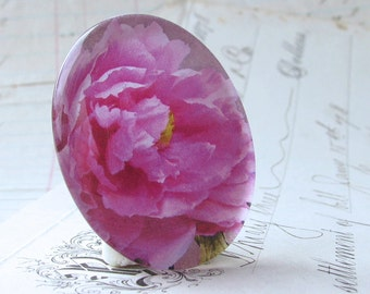 Magenta Peony flower - handmade glass oval horizontal cabochon - 40x30mm 30x40mm 40x30 30x40 40mm 30mm, pink, purple  floral cab