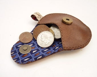 Brown Leather Coin Purse / Mini Gypsy for Men / Ready to Ship
