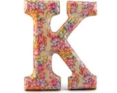 Decorated Wood Letter K Decoupage Floral Crocus on Pale Yellow Field 6 inch