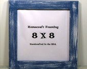 4X4 Picture Frame Distressed Wooden Block Primitive Dark Gray Yellow Photo Frame
