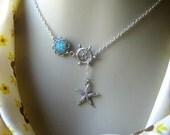 Starfish Lariat Necklace, Seastar Necklace, Druzy Lariat, Seastar Lariat, Lariat Jewelry, Custom Lariat