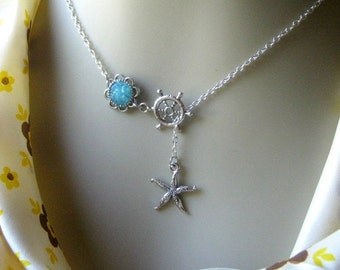 Starfish Lariat Necklace, Seastar Necklace, Druzy Lariat, Seastar Lariat, Lariat Jewelry, Custom Lariat