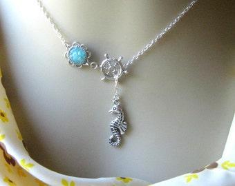 Seahorse Lariat Necklace, Seahorse Necklace, Druzy Lariat, Wheel Lariat, Lariat Jewelry, Custom Lariat