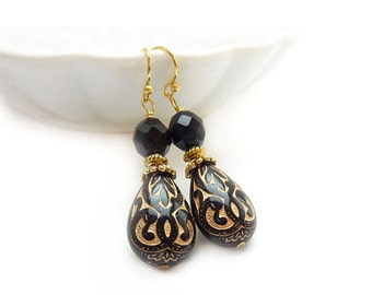 Jet Black Teardrop Earrings - Black and Gold Dangle Drop Earrings - Vintage Style Earrings - Gift for Her