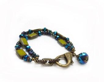 Blue & Green Glass Bracelet - Seed Beads - Picasso Czech Glass - Cobalt Blue - Funky Bronze Clasp - Bohemian Bracelet