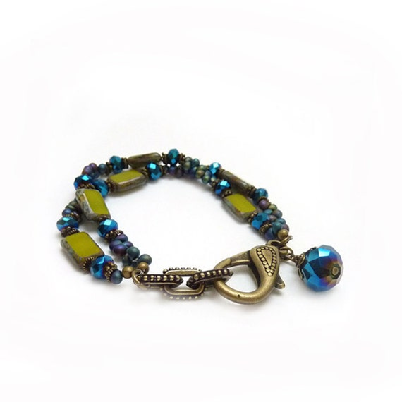 Blue & Green Glass Bracelet - Seed Beads - Picasso Czech Glass - Cobalt Blue - Funky Bronze Clasp - Bohemian Bracelet