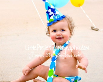 1st Birthday Cake Smash Outfit includes Party Hat, Diaper Cover, and Necktie - ORIGINAL Design by StacyBayless