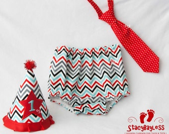 Red Black and Aqua Chevron Cake Smash Outfit includes Hat, Diaper Cover, and Necktie for First Birthday with RED hat accent- by StacyBayless