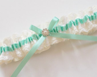 Mint Wedding Garter with White Raschel Lace and Ivory Ribbon - The Mint TRICIA Garter