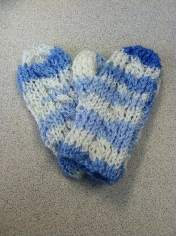 Icicle baby blue cabled winter toddler mittens
