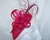 Cerise Raspberry Pink Blusher Veil Curl Feather & Rhinestone Pearl Teardrop Fascinator Mini Cocktail Hat Wedding Derby  Custom Made to Order