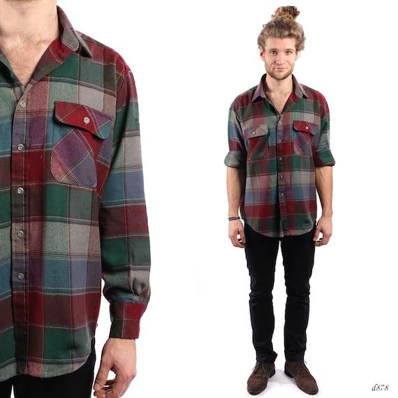 Mens plaid shirt buffalo plaid shirt winter flannel shirt for Red buffalo flannel shirt