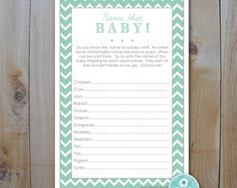 Baby Shower Game Card / Name That Baby Game Seafoam Green Chevron / Instant Download / PRINTABLE /  238