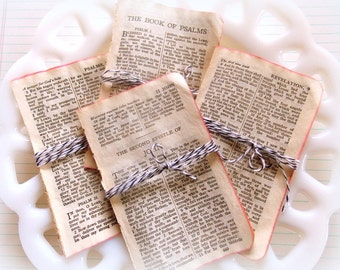 Bundle of Sweet Mini  Vintage Aged Bible Pages / 10 Pages / Bible / Journaling