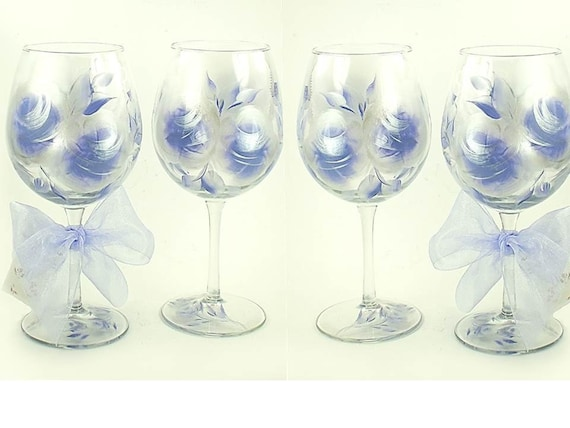 Hand-Painted Wine Glasses - Periwinkle Blue and Silver Large Roses,
