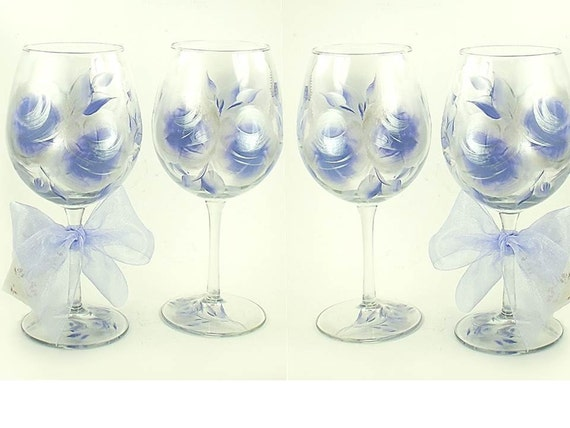 Hand-Painted Wine Glasses - Periwinkle Blue and Silver Large Roses, Set of 6 - Hostess