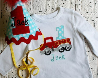 Firetruck Birthday shirt in red and blue, Available in ALL Number or Letters