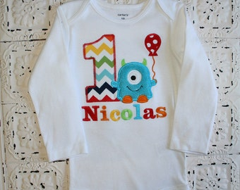 M2M Little Blue Monster Birthday Shirt OR bodysuit -Monogrammed-Your Choice of Letters or Numbers