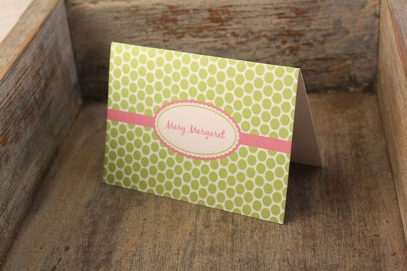 Dots Personalized Stationary - Personalized Stationary Set of 12 Notecards Custom Cards