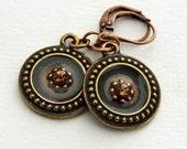Swarovski crystals, heishi beads in resin in Tierracast frames earring
