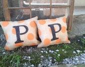 Burlap Pillow with Orange Polkadots and Black initial Fall Halloween Decor