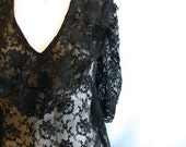 vintage. 70s Black Lace Dress / Jessica McClintock Dress  / S to M / FLAPPER Rocker