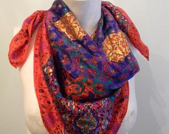 vintage. 70s Liz Claiborne Silk Red Scarf // INDIA GLAM