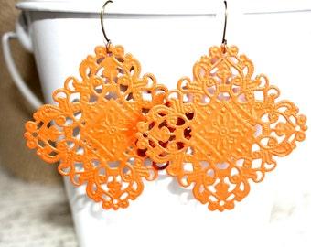 Orange Earrings,Handpainted Earrings, Bronze Filigree Earrings,Earrings Boho Earrings Rustic Jewelry Dangle Earrings