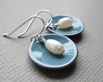 Dusk Blue Enamel White Pearl Modern Minimalist Circle Earrings