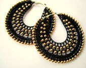 Crochet Hoops in Black with Gold beads