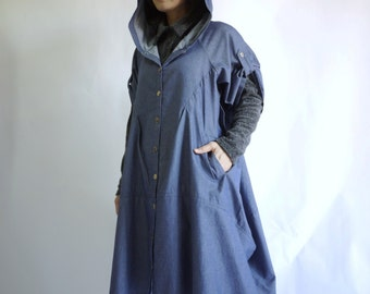Front Opening Half Sleeve Dusty Dark Blue Light Denim Cotton Chambray Hooded Coat Jacket