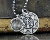 Wax Seal Anchor Necklace, Journey, Sailing Ship, Such is Life, Sterling Silver, Rose Compass
