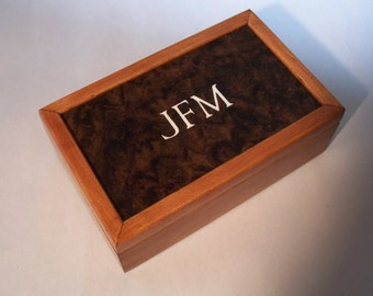 Wooden Jewelry Box Keepsake Box Cherry Walnut Burl Monogram