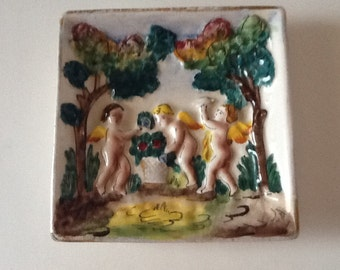 Trinket Dish Cherubs Angels Made in Italy Capodimonte Porcelain Dish Vintage Jewelry Dish Key Tray  Hollywood Regency
