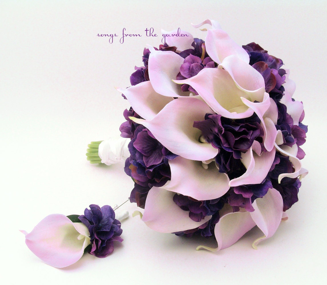 Bridal Bouquets Calla Lilies And Hydrangeas : Real touch calla lily hydrangea bridal bouquet lavender and
