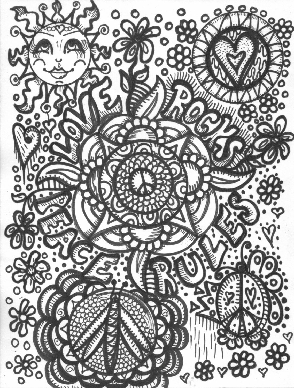 Hippie art coloring book peace love and a coloring book for Hippie coloring book pages