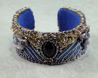 Amethyst Cuff Bracelet, Bead Embroidery