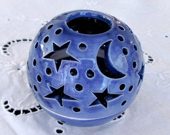 Something blue, candle holder Ceramic Star Candileria Kitchen Decor Romantic wedding favor Bridesmaid Gift