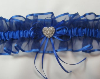 RHINESTONE Heart Wedding Prom garters Royal Blue Garter keep